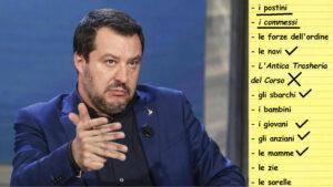 Salvini elenca conta con le dita fa un elenco di cose